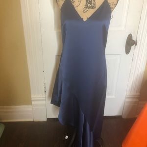 Halston Heritage evening line navy blue silk dress